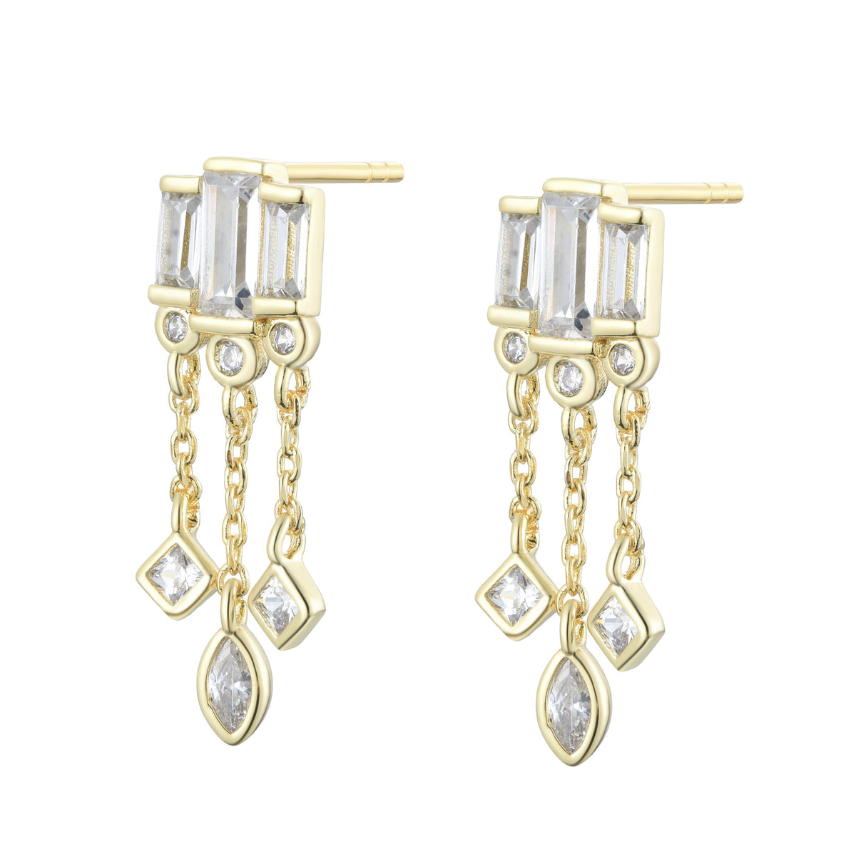 Ferentina | Marron glacé Earrings | 925 Silver | White CZ | 18K Gold Plated