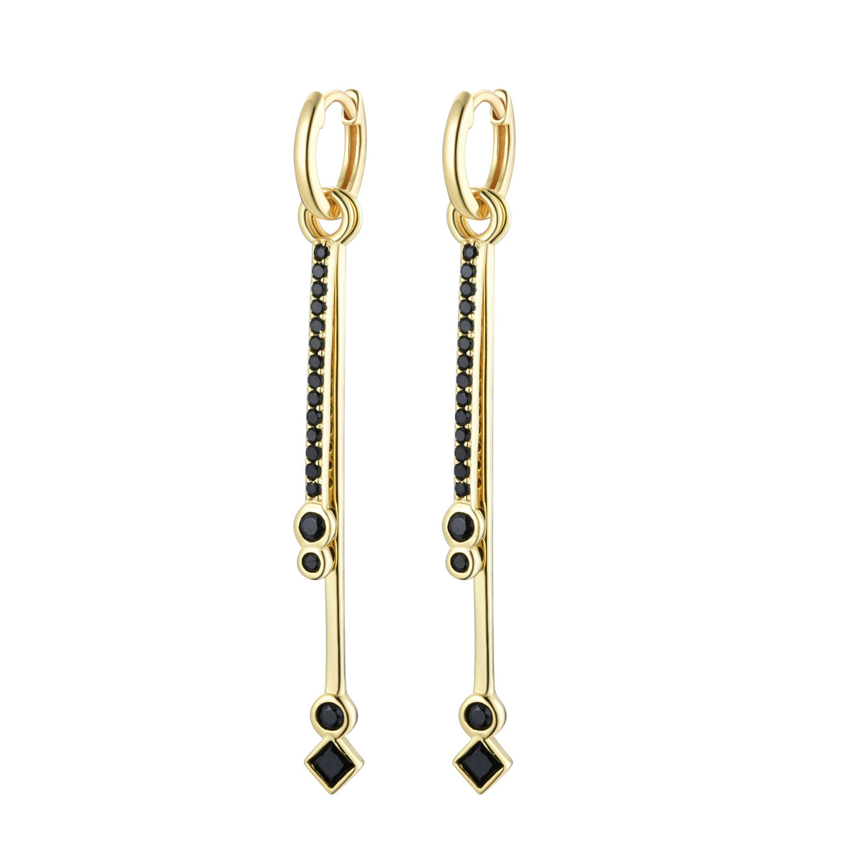 Ferentina | Blondie Earrings | 925 Silver | Black CZ | 18K Gold Plated