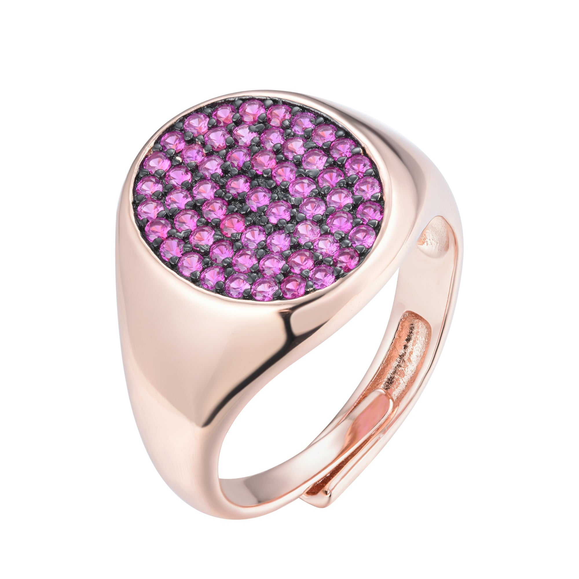 Ferentina | Frozen Yogurt Ring | 925 Silver | Ruby CZ | Black Rhodium & Rose Gold Plated