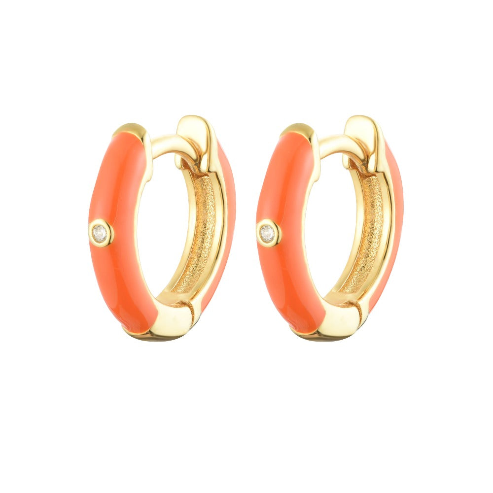 Salacia | Kefalonia earrings | 925 Silver | White CZ & Orange Enamel | 18K Gold Plated