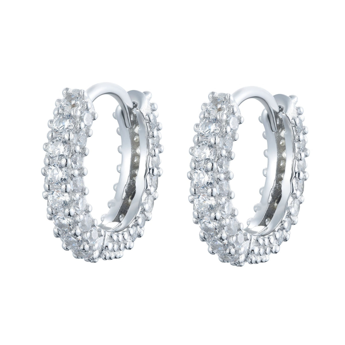 Fortuna | Rome Earrings | 925 Silver | White CZ | White Rhodium Plated