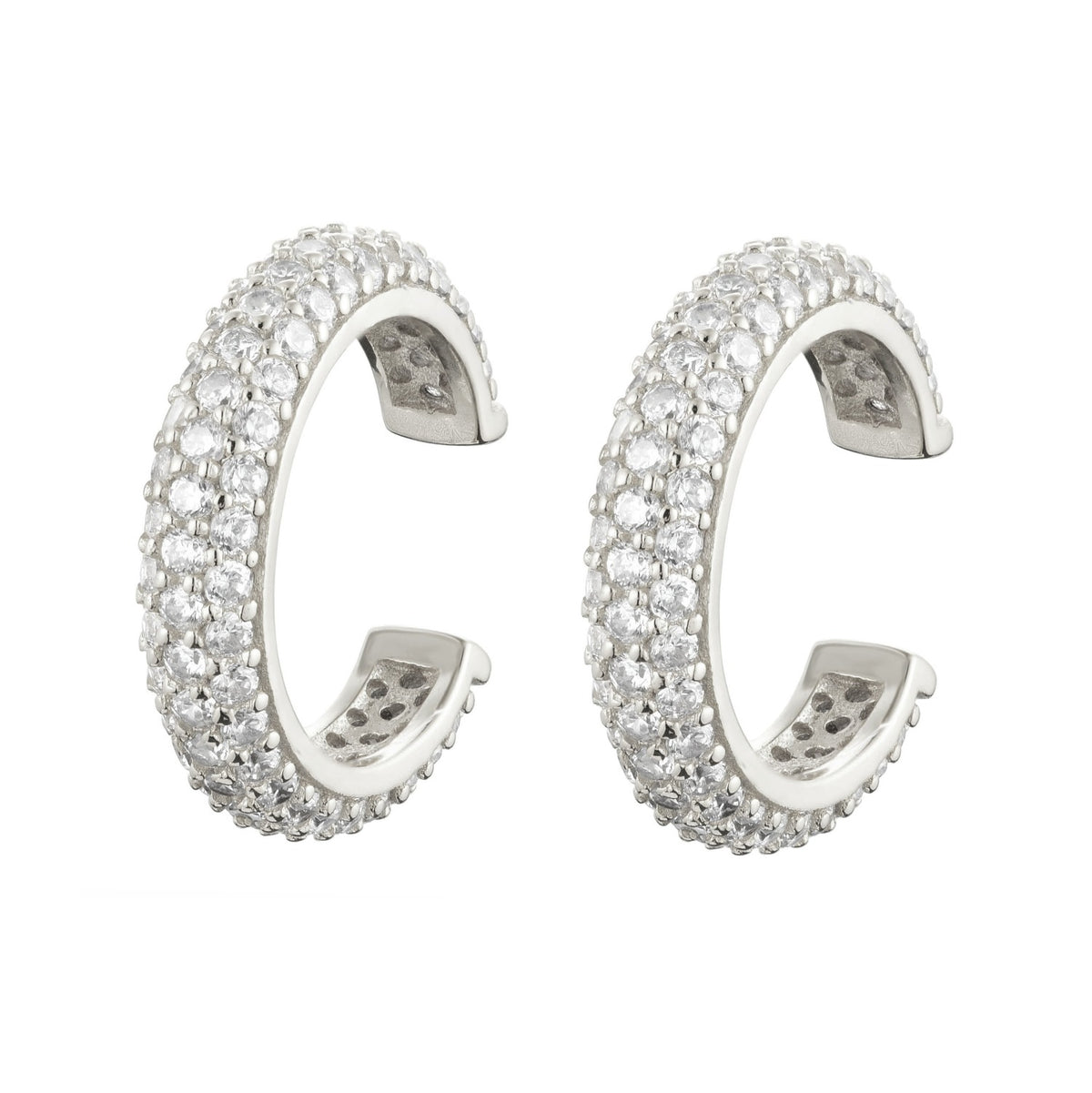 Fortuna | Turin Cuffs | 925 Silver | White CZ | White Rhodium Plated