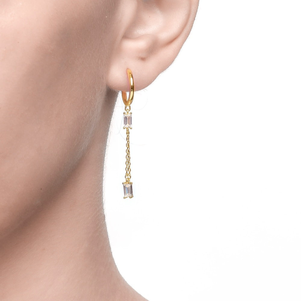 Salacia | Milos Earrings | 925 Silver | White CZ | 18K Gold Plated