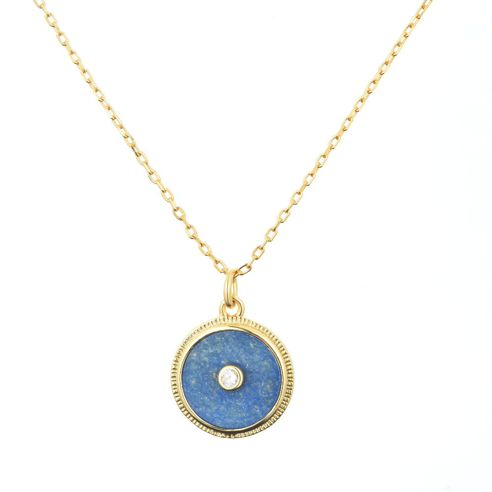 Salacia | Kea Necklace | 925 Silver | White CZ & Blue Jade | 18K Gold Plated
