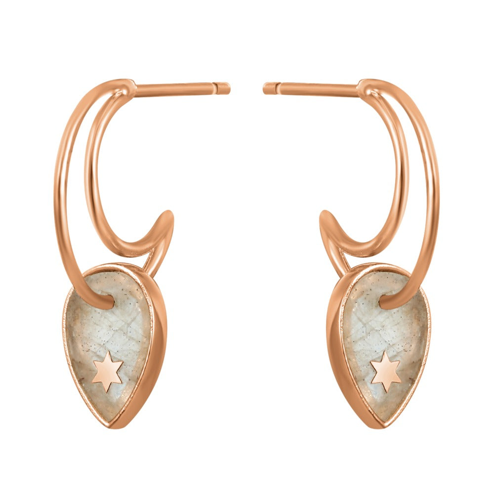Spirito Rosa x Queen Dina Fall | Pacifico Earrings | 925 Silver | Labradorite | Rose Gold Plated