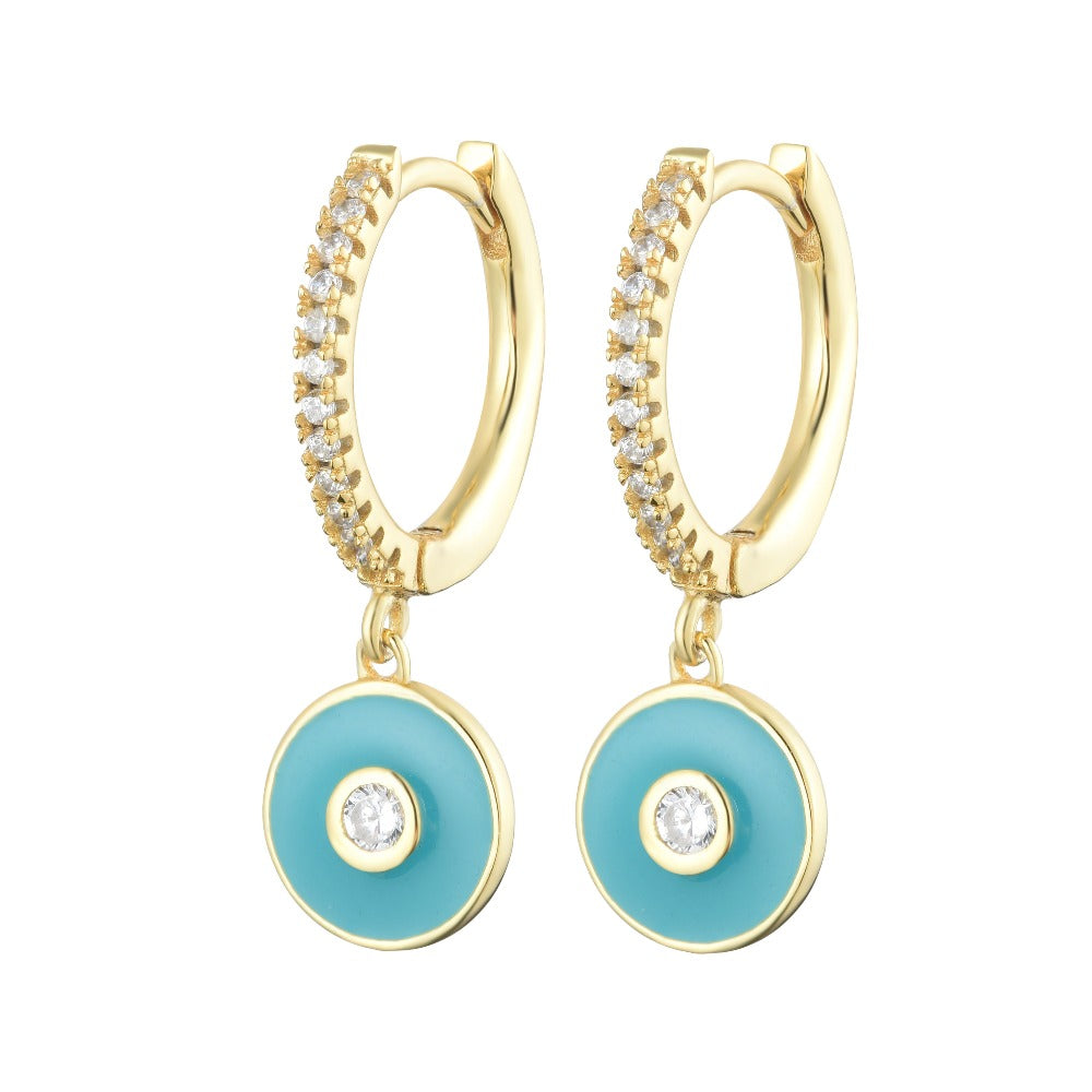 Salacia | Syros Earrings | 925 Silver | White CZ & Turquoise Enamel | 18K Gold Plated