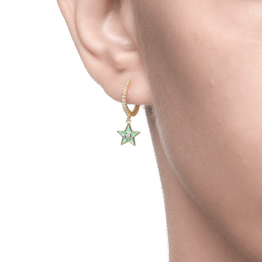 Salacia | Paros Earrings | 925 Silver | White CZ & Apple Green Enamel | 18K Gold Plated