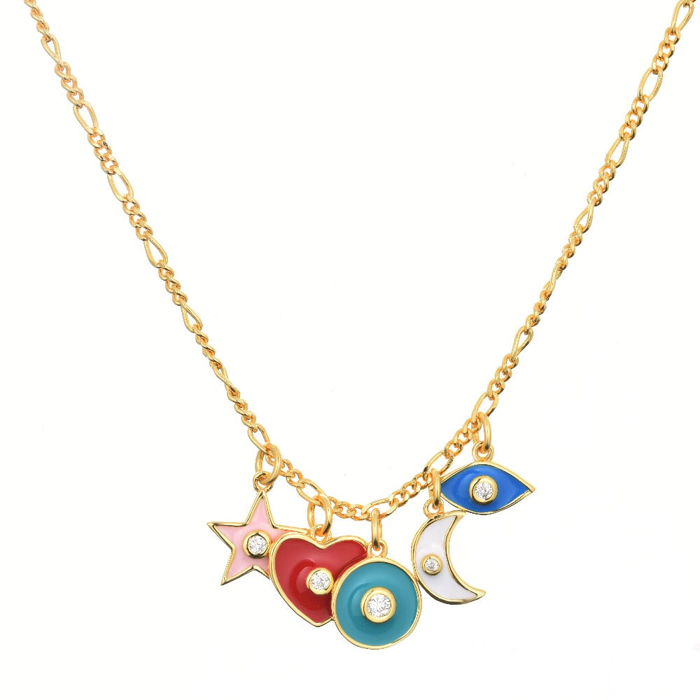Salacia | Antiparos Necklace | 925 Silver | White CZ & Multicolor Enamel | 18K Gold Plated