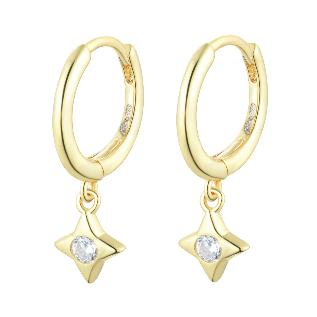 Fortuna | Pistoia Earrings | 925 Silver | White CZ | 18K Gold Plated