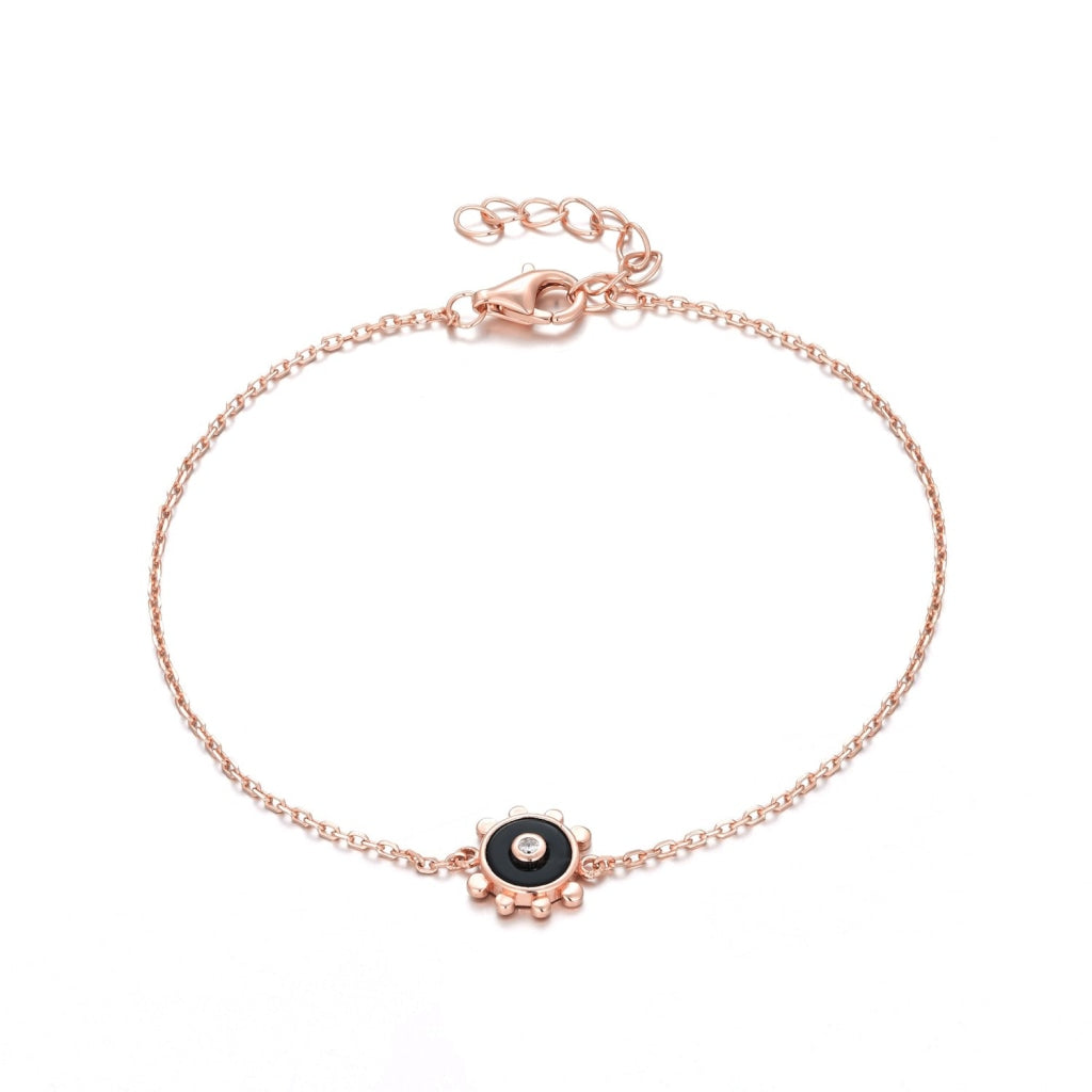 Venelia Sole Mio Bracelet | 925 Silver White Cz / Black Onyx Rose Gold Plated