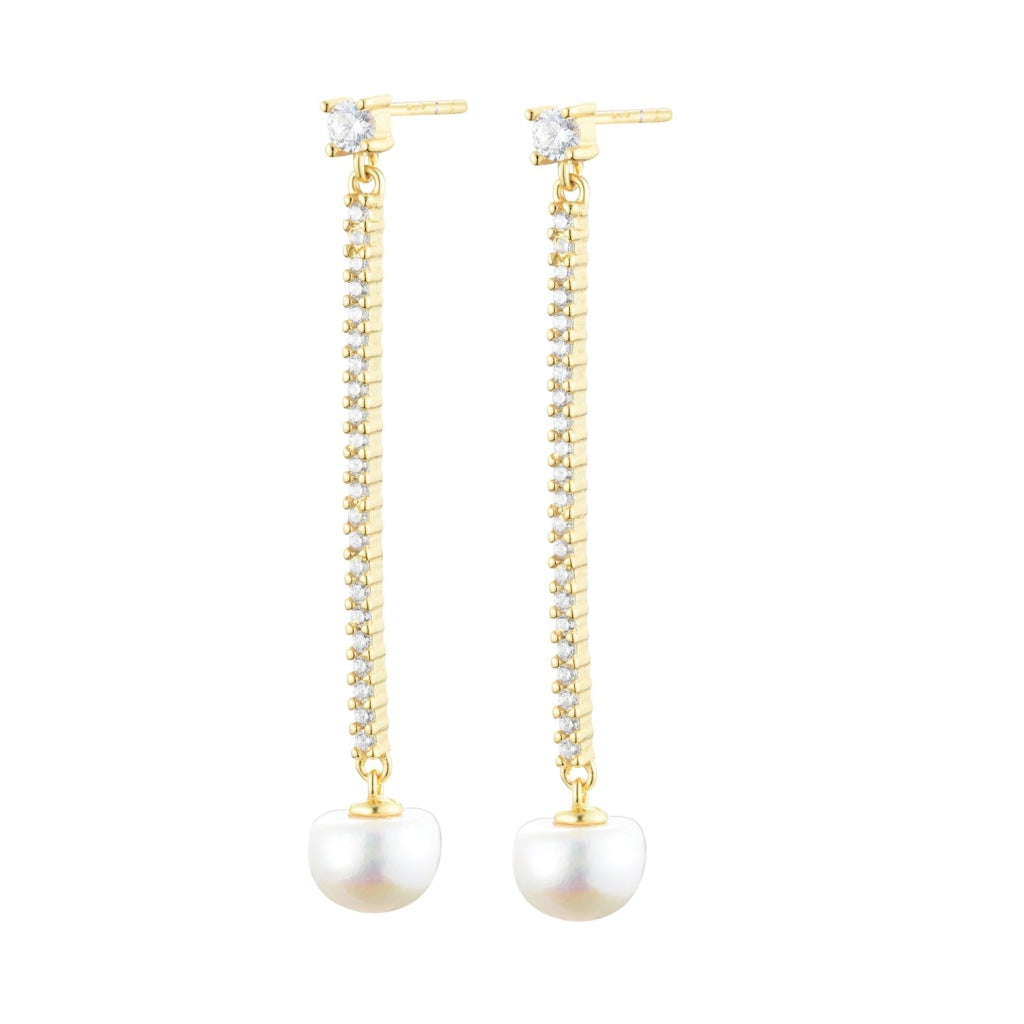 Venelia Gocia di Mare Earrings | 925 Silver | White CZ / White Pearl | 18K Gold Plated - Spirito Rosa | Βραβευμένα Κοσμήματα σε Απίστευτες Τιμές