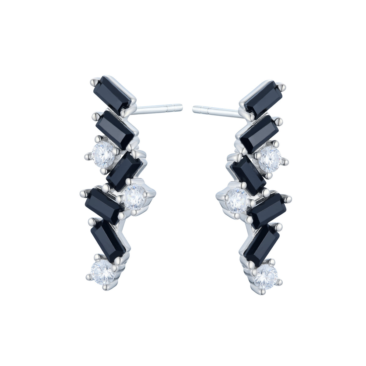 Ferentina | Zabaione Earrings | Black & White CZ | Rhodium Plated 925 Silver