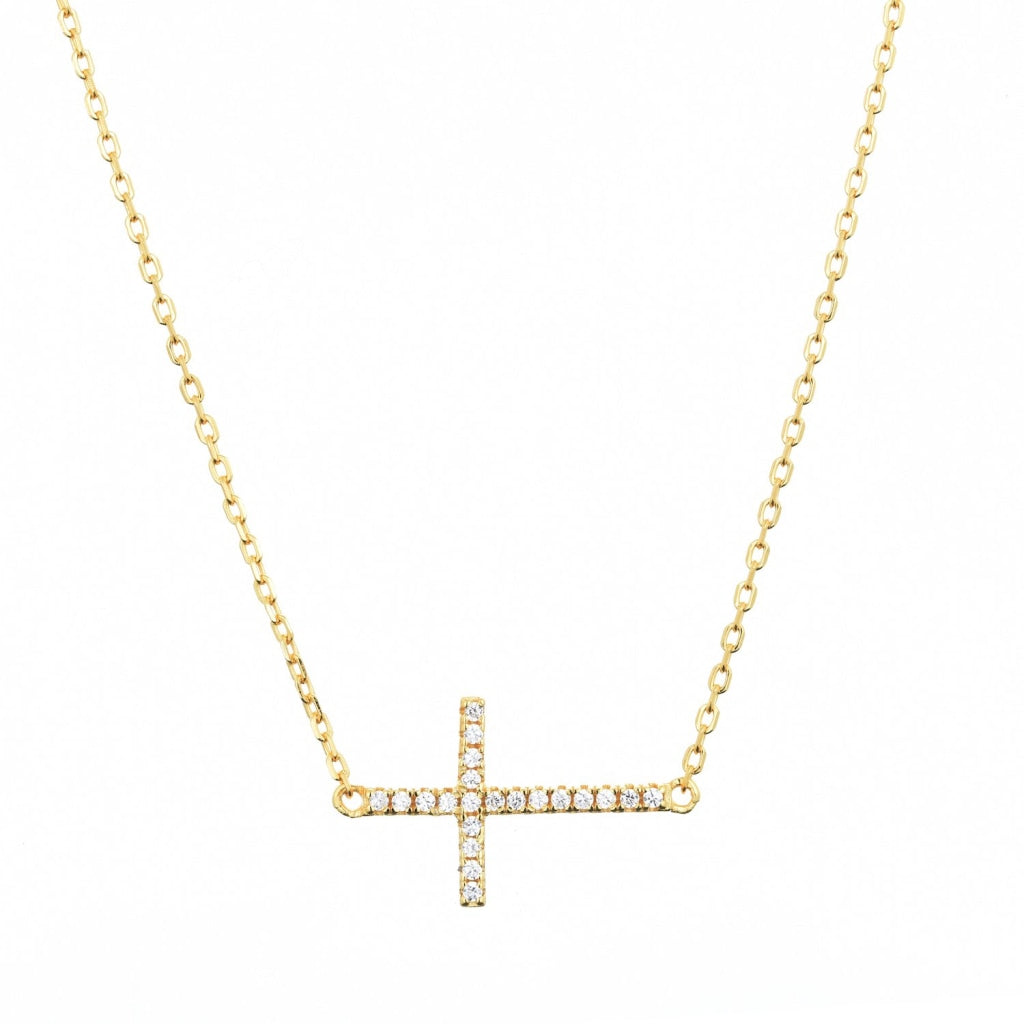Venelia Croce Necklace | 925 Silver White Cz 18K Gold Plated