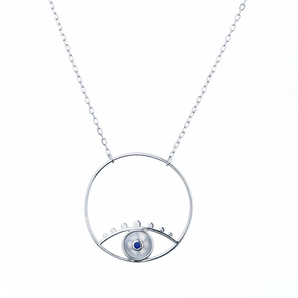 Venelia Occhio Hoop Necklace | 925 Silver Sapphire Cz / Mother Of Pearl Rhodium Plated