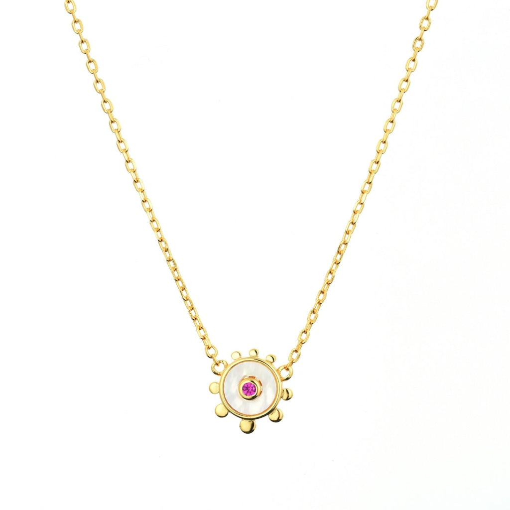 Venelia Sole Mio Necklace | 925 Silver Ruby Cz / Mother Of Pearl 18K Gold Plated