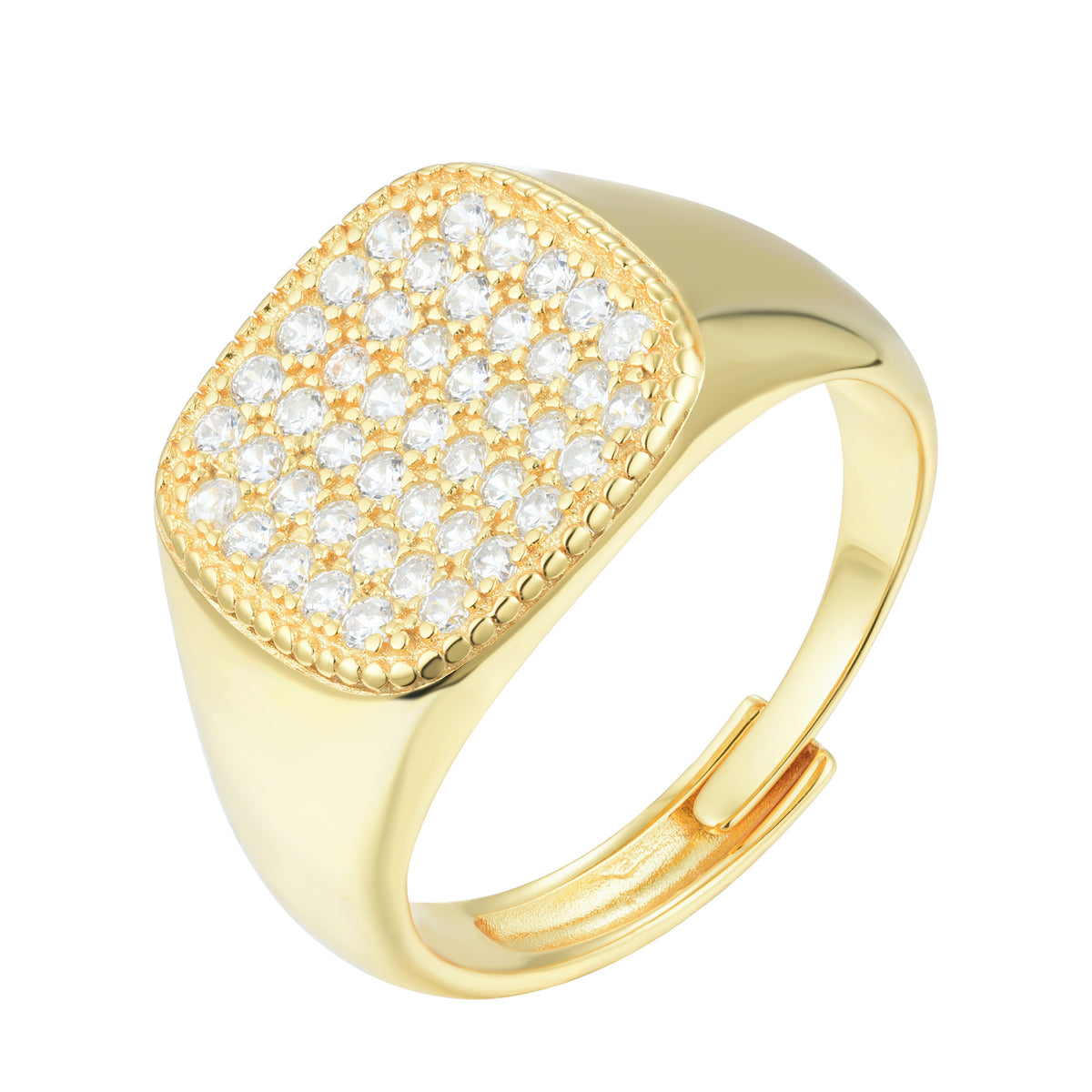 Fortuna | San Gimignano Ring | 925 Silver | White CZ | 18K Gold Plated