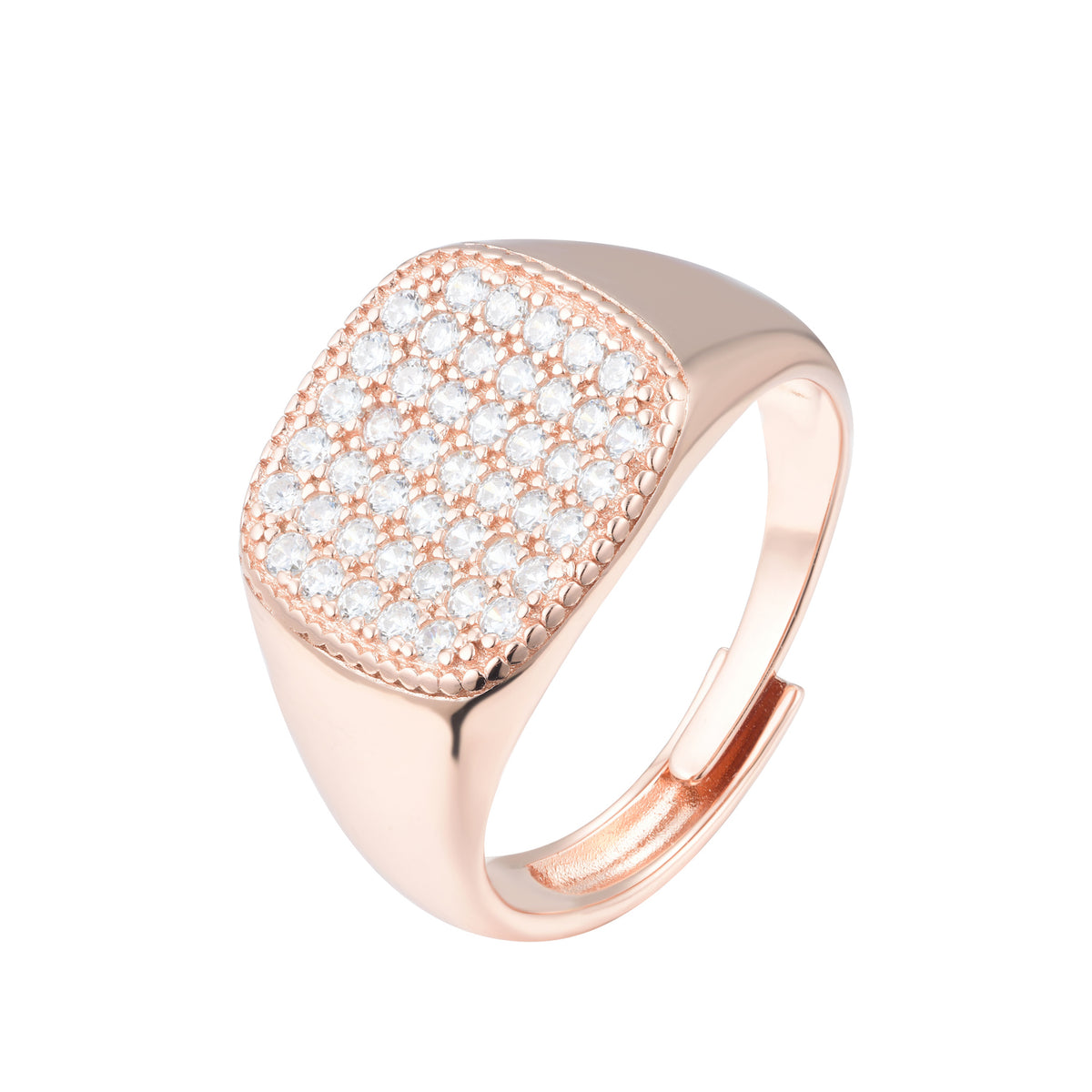 Fortuna | San Gimignano Ring | 925 Silver | White CZ | Rose Gold Plated
