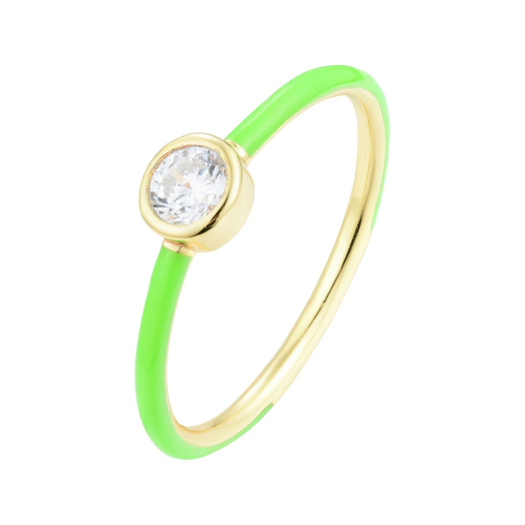 Venelia - Vivace Ring 18K Gold Plated 925 Silver White Cz & Green Enamel Ring