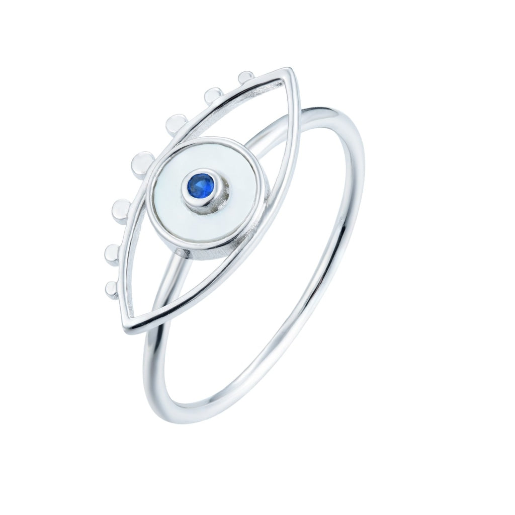 Venelia - Occhio Mio Ring - Rhodium Plated 925 Silver - Sapphire CZ & Mother Of Pearl - Spirito Rosa | Βραβευμένα Κοσμήματα σε Απίστευτες Τιμές