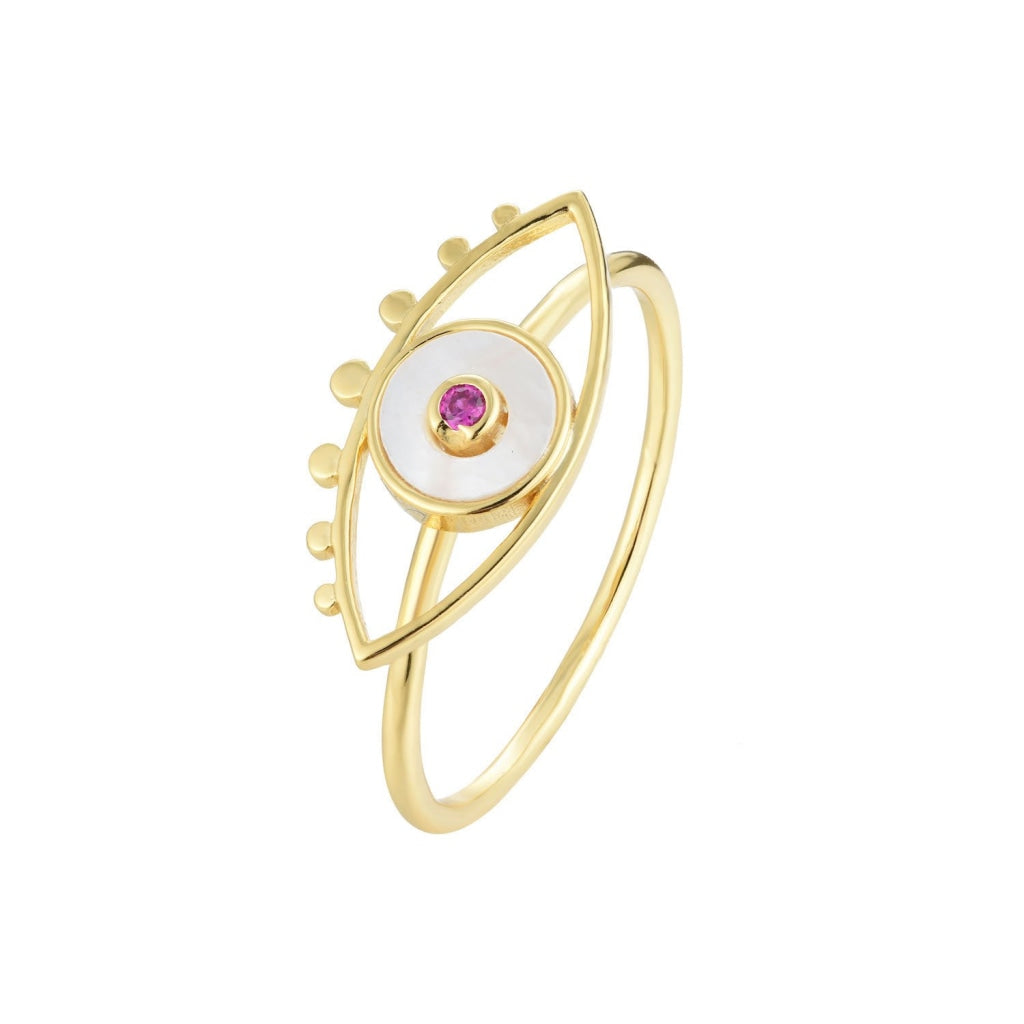 Venelia - Occhio Mio Ring - 18K Gold Plated 925 Silver - Ruby CZ & Mother Of Pearl - Spirito Rosa | Βραβευμένα Κοσμήματα σε Απίστευτες Τιμές