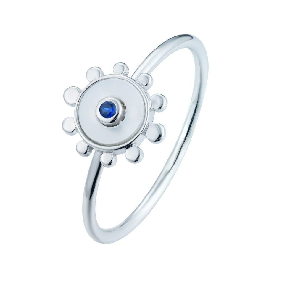 Venelia - Sole Mio Ring - Rhodium Plated 925 Silver - Sapphire CZ & Mother Of Pearl - Spirito Rosa | Βραβευμένα Κοσμήματα σε Απίστευτες Τιμές