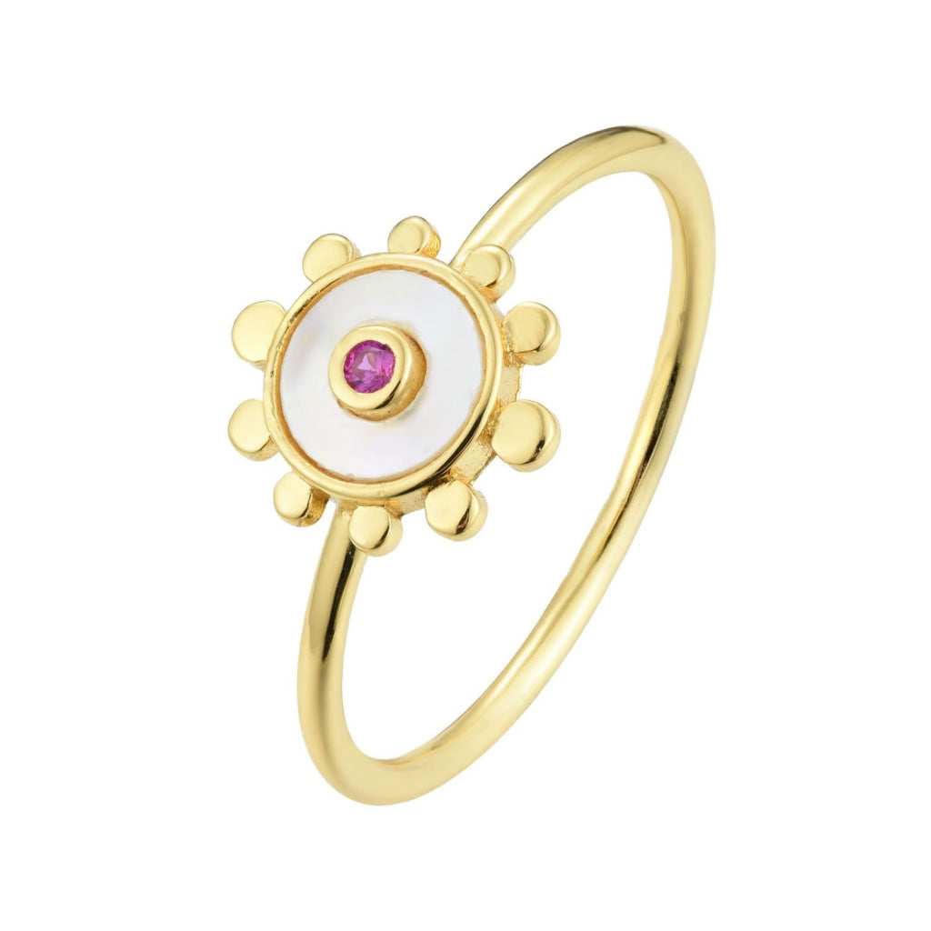 Venelia - Sole Mio Ring - 18K Gold Plated 925 Silver - Ruby CZ & Mother Of Pearl - Spirito Rosa | Βραβευμένα Κοσμήματα σε Απίστευτες Τιμές