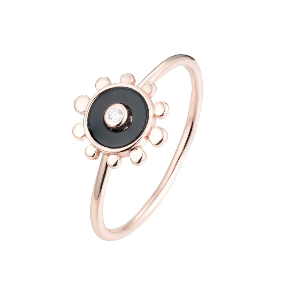 Venelia - Sole Mio Ring - Rose Gold Plated 925 Silver - White CZ & Black Onyx - Spirito Rosa | Βραβευμένα Κοσμήματα σε Απίστευτες Τιμές
