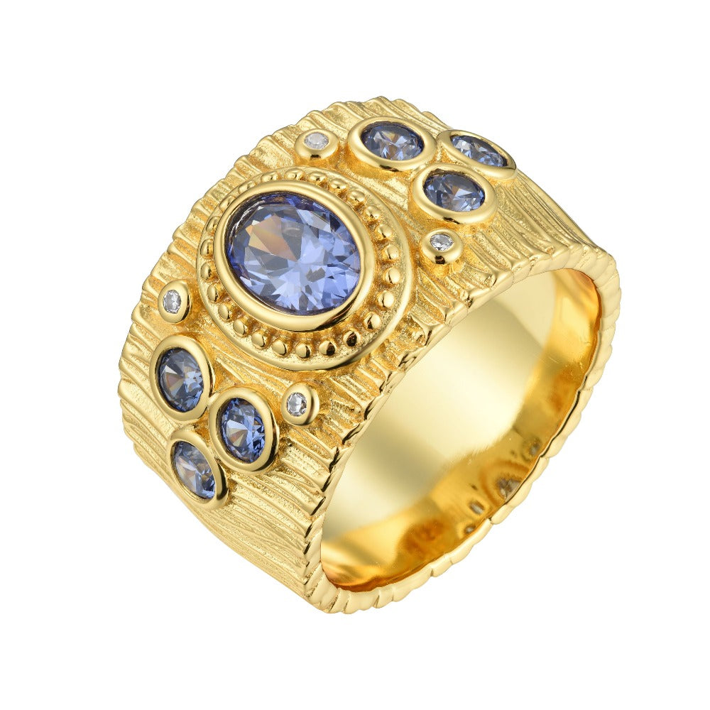 Salacia | Hydra Ring | 925 Silver | White CZ & Tanzanite | 18K Gold Plated