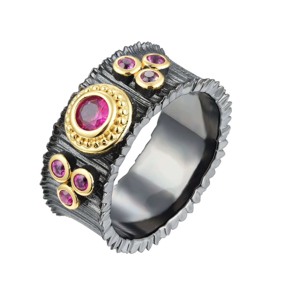 Salacia | Samos Ring | 925 Silver | Ruby CZ | 18K Gold & Black Rhodium Plated