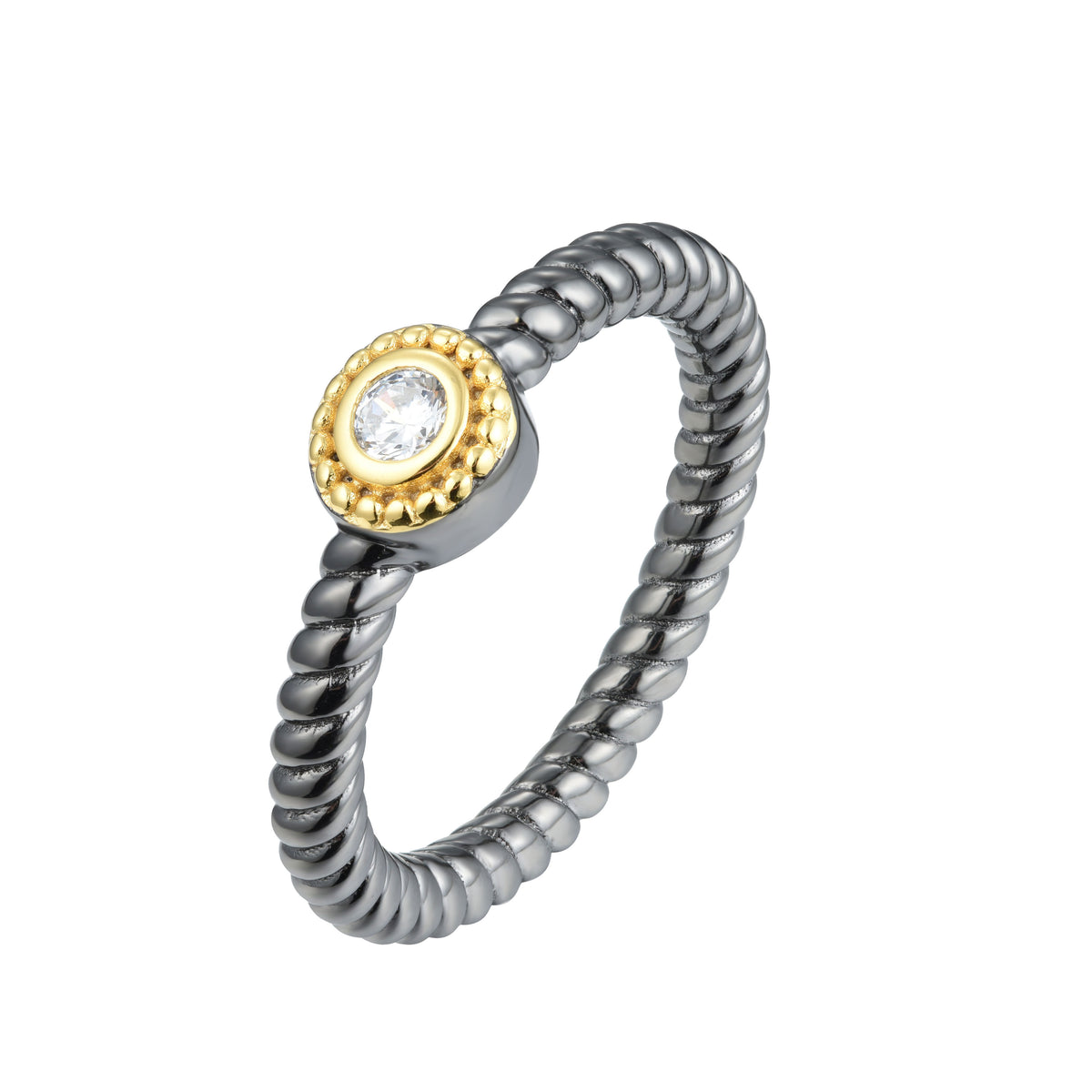 Salacia | Chios Ring | 925 Silver | White CZ | 18K Gold & Black Rhodium Plated