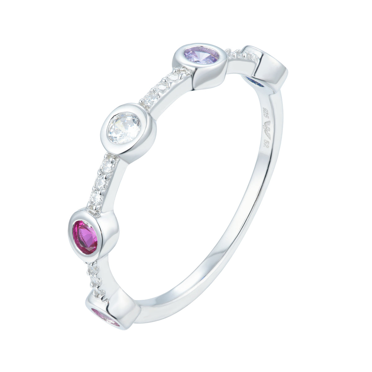 Fortuna | Verona Ring | 925 Silver | Multicolour CZ | White Rhodium Plated