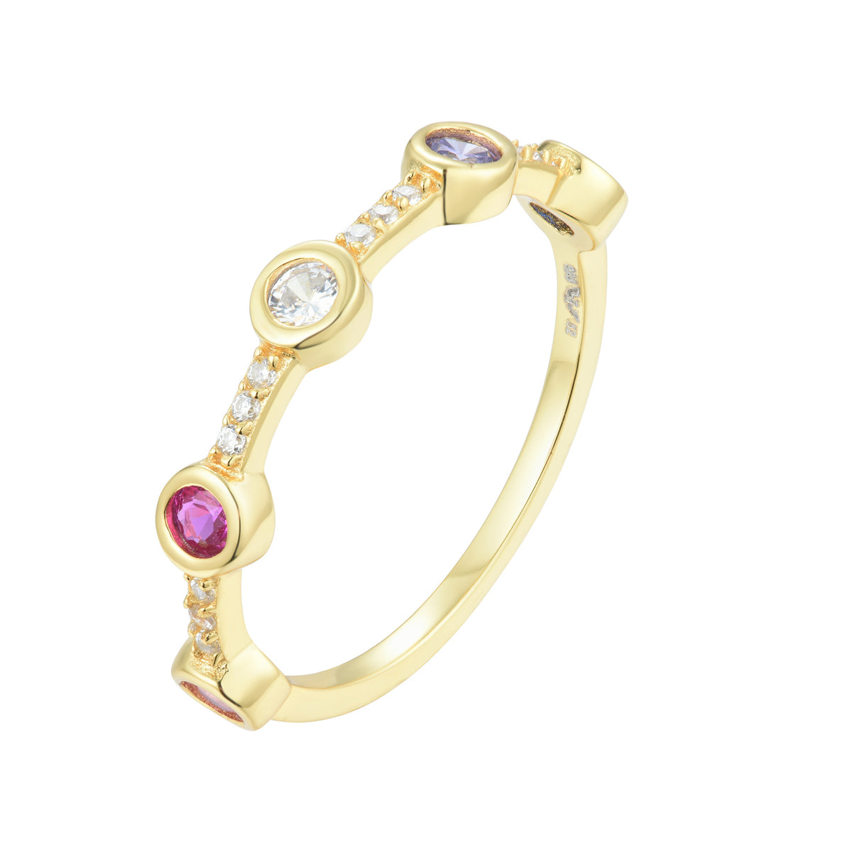 Fortuna | Verona Ring | 952 Silver | Multicolour CZ | 18K Gold Plated