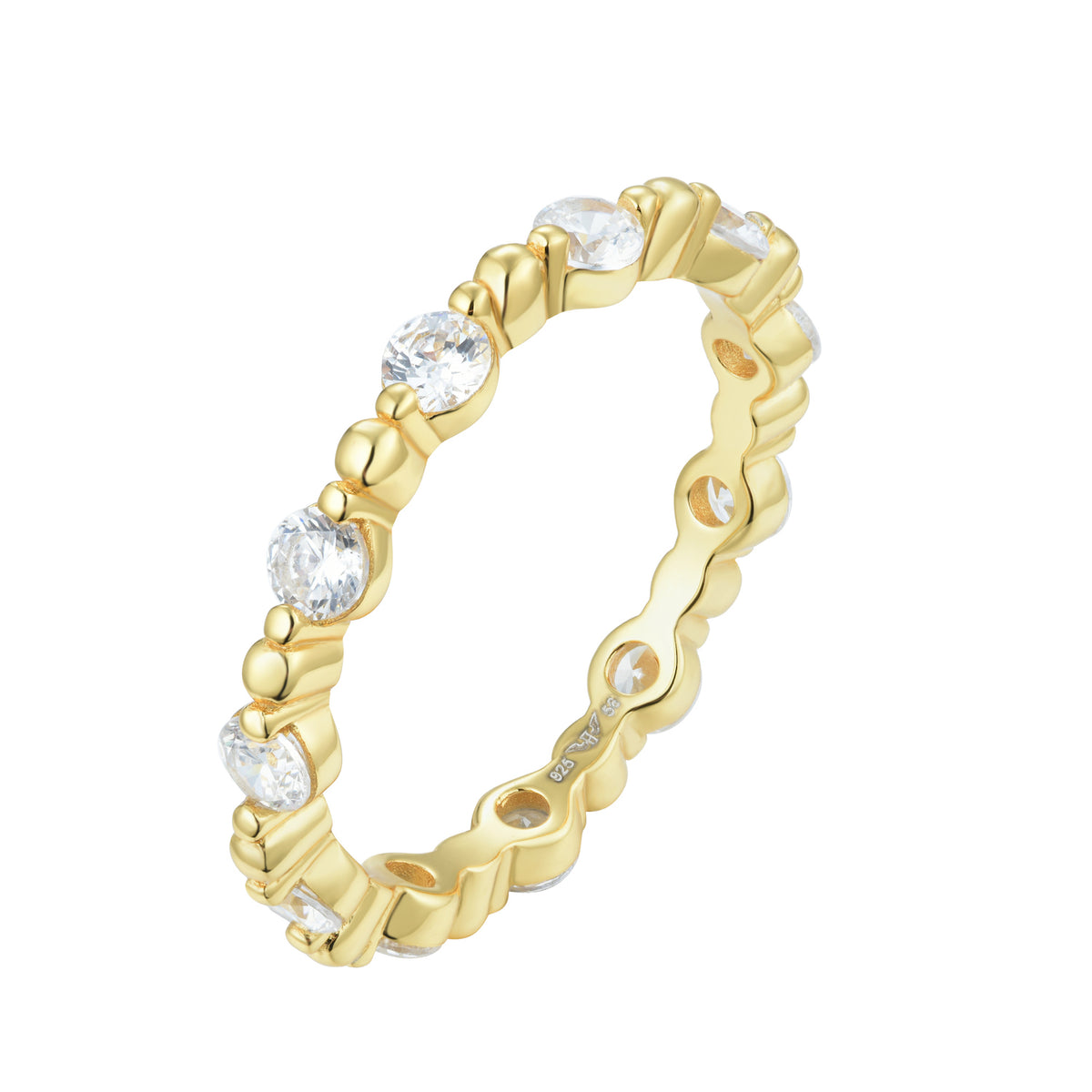Fortuna | Ferrara Ring | 925 Silver | White CZ | 18K Gold Plated