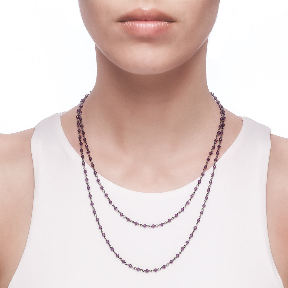 Argentum Long Necklace - Amethyst - Black Rhodium Plated Silver