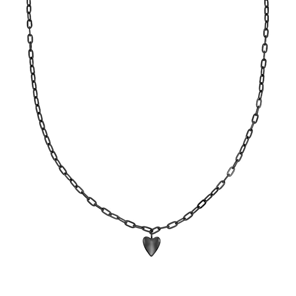 Bellona |  Hearty Necklace | 925 Silver | Black Rhodium Plated - Spirito Rosa | Βραβευμένα Κοσμήματα σε Απίστευτες Τιμές