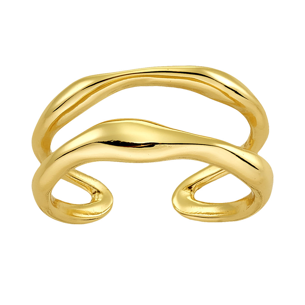 Bellona | Double Teardrop Ring | 925 Silver | 14K Gold Plated - Spirito Rosa | Βραβευμένα Κοσμήματα σε Απίστευτες Τιμές
