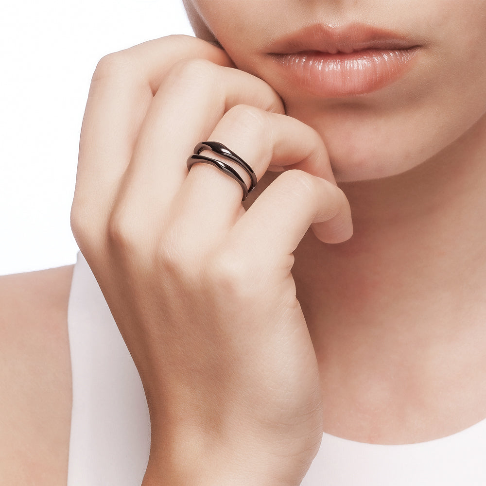 Bellona |  Double Teardrop Ring | 925 Silver | Black Rhodium Plated