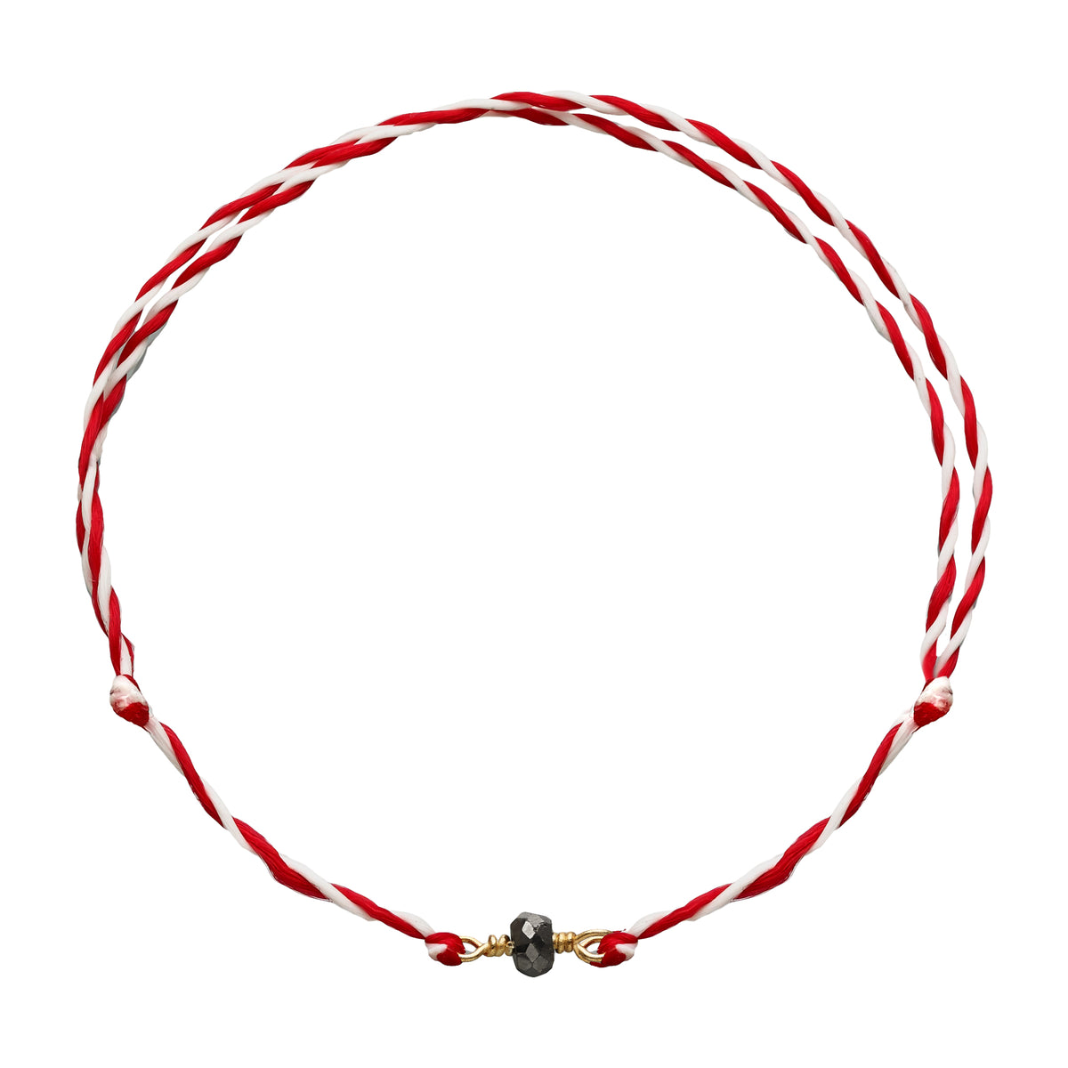 March Bracelet | Pyrite | Red & White Thread - Spirito Rosa | Βραβευμένα Κοσμήματα σε Απίστευτες Τιμές