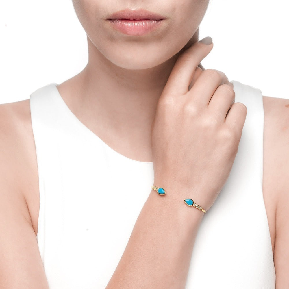 Carmenta | Capri Bangle | 925 Silver | White CZ & Turquoise Enamel | 14K Gold Plated