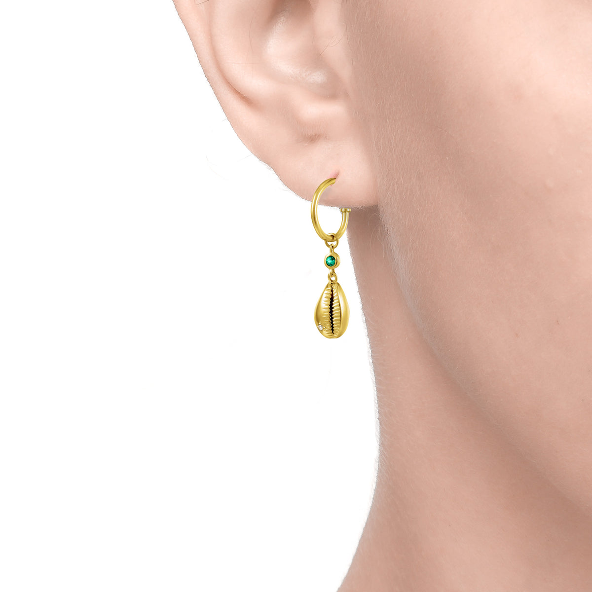 Carmenta | Hawai Earrings | 925 Silver | Green CZ | 14K Gold Plated