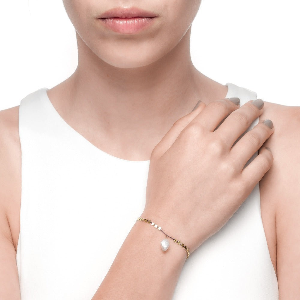Carmenta | Boracay Bracelet | 925 Silver | Organic White Pearl | Dark Grey Thread & 14K Gold Plated