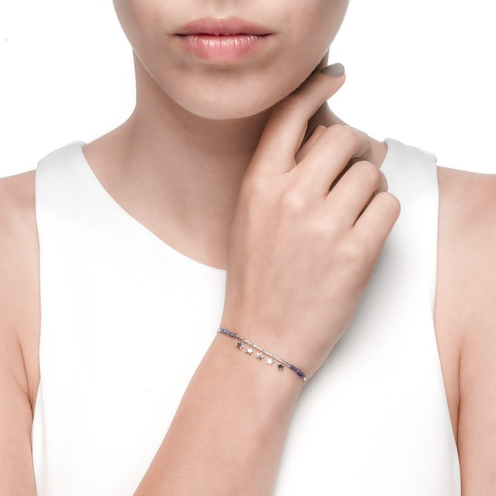 Spirito Rosa X Queen Dina Summer | River Bracelet | 925 Silver | Blue-Vein Stone | White Rhodium Plated