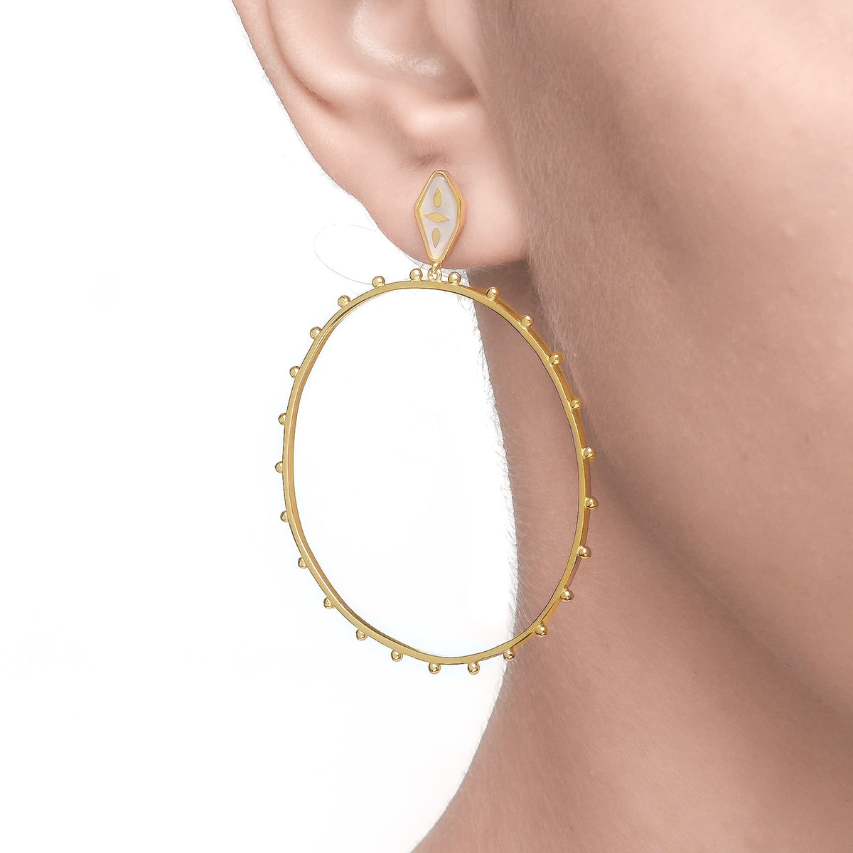 Spirito Rosa x Queen Dina Fall | Oceane Hoops | 925 Silver | Mother of Pearl | 14K Gold Plated