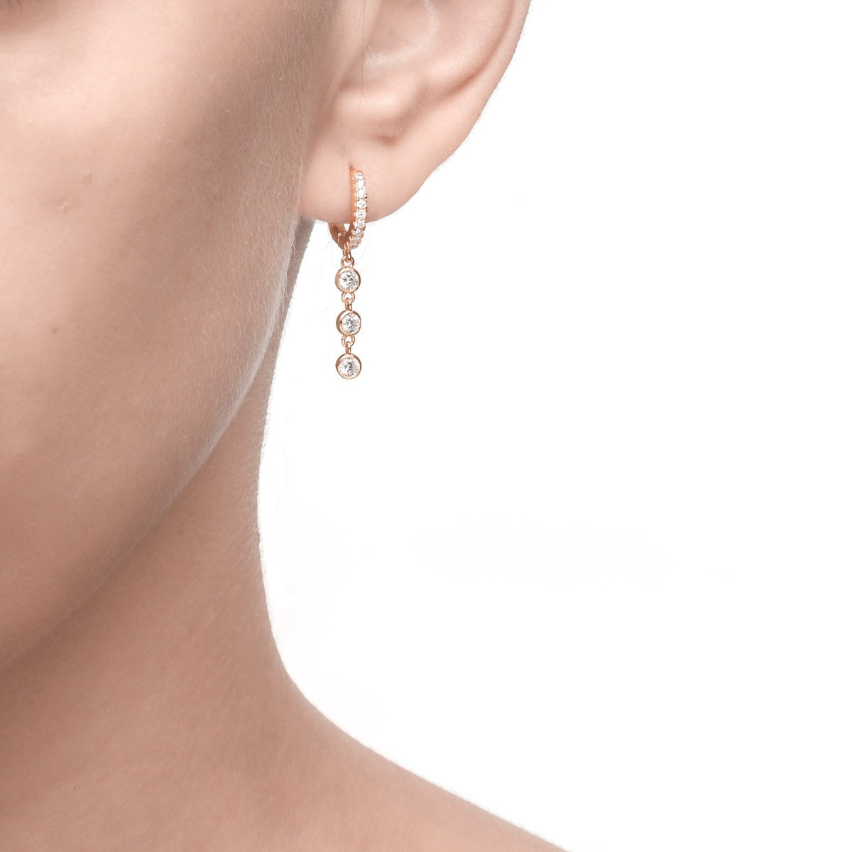 Fortuna | Bari Earrings | 925 Silver | White CZ | Rose Gold Plated