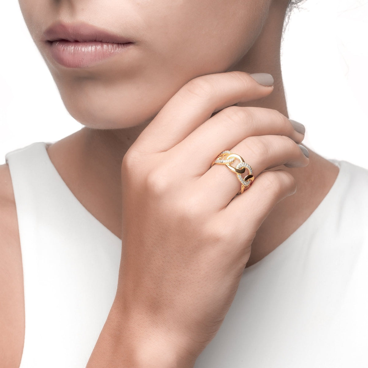 Fortuna | Florence Ring | 925 Silver | White CZ | 18K Gold Plated