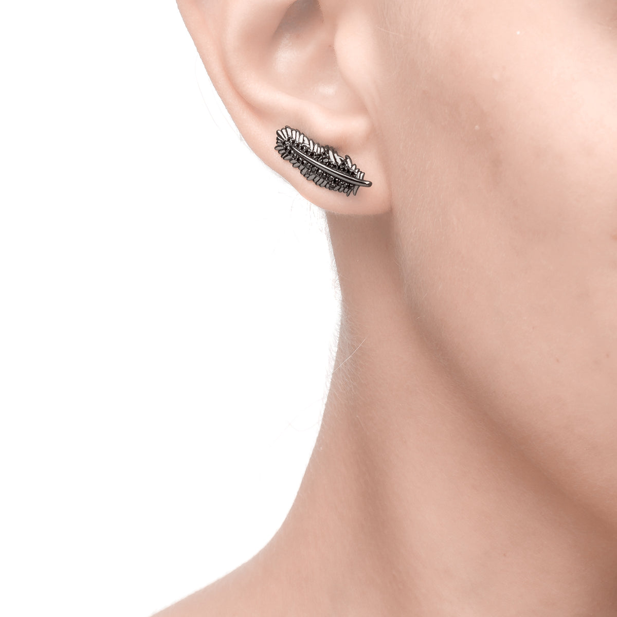 Fortuna | Siena Earrings | 925 Silver | Black CZ | Black Rhodium Plated
