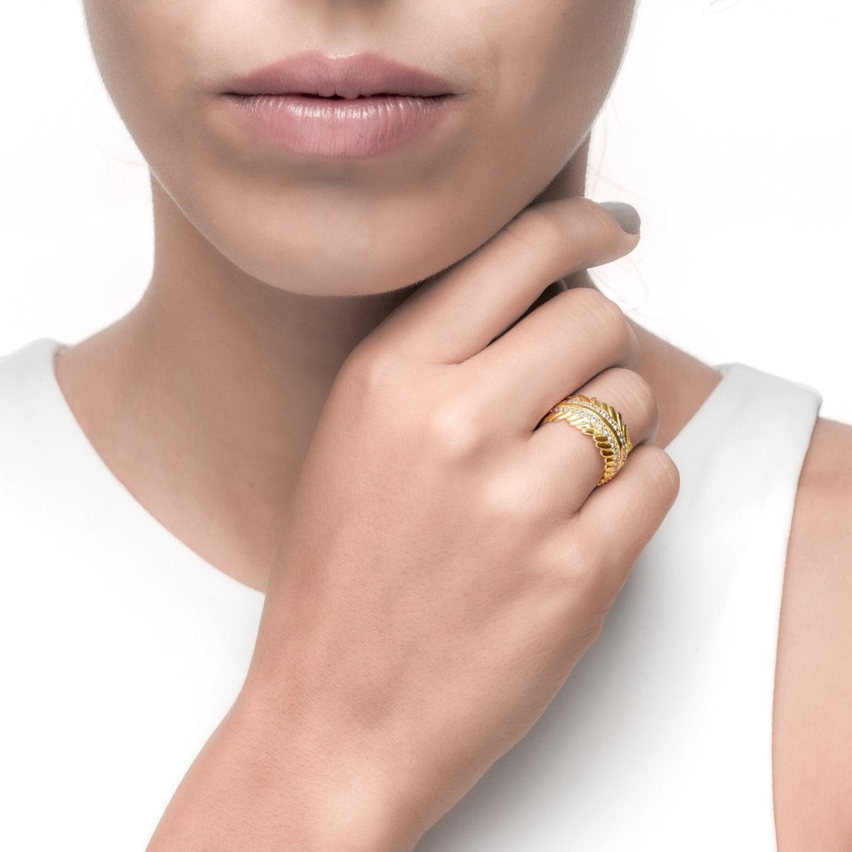 Fortuna | Siena Ring | 925 Silver | White CZ | 18K Gold Plated
