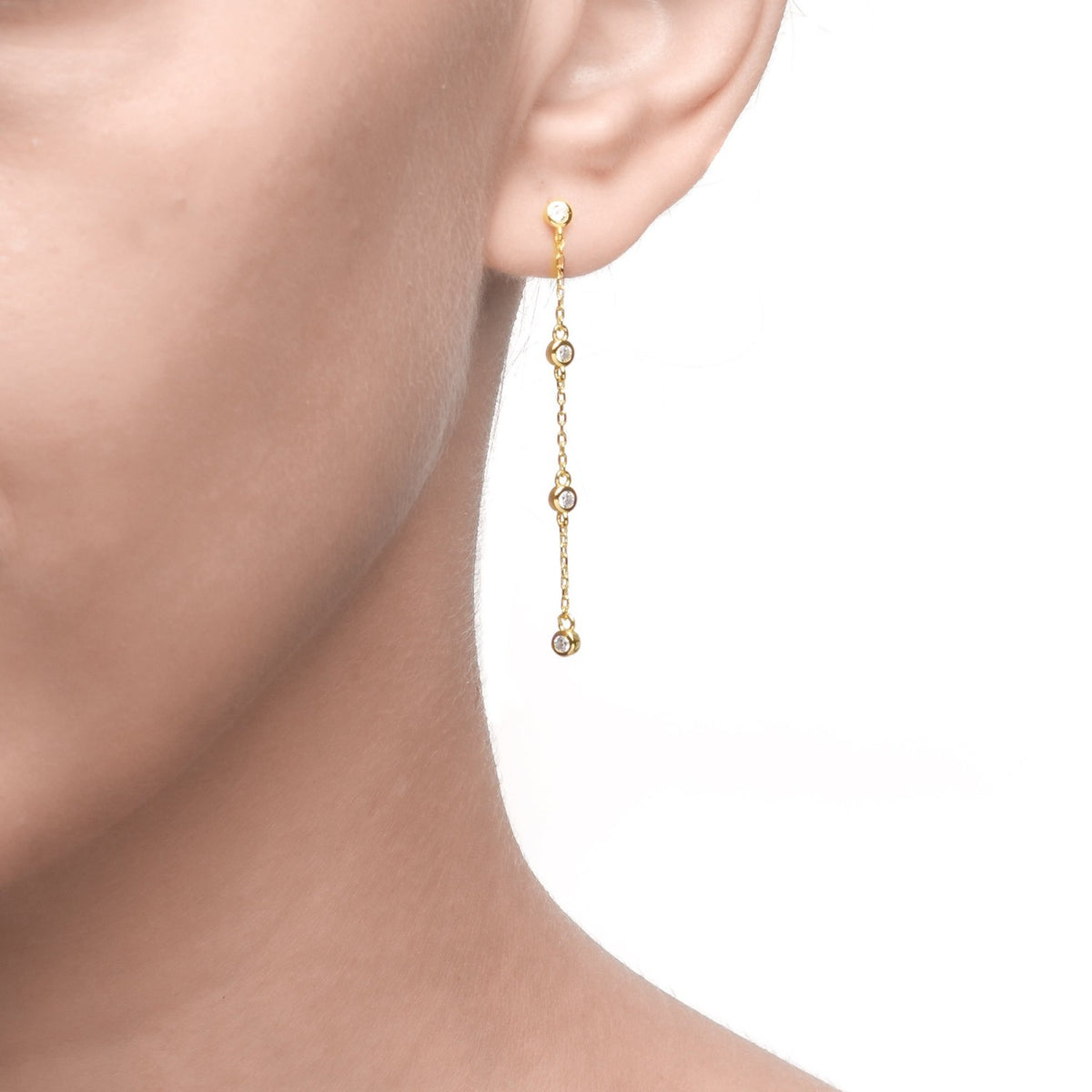 Fortuna | Bolzano Earrings | 925 Silver | White CZ | 18K Gold Plated