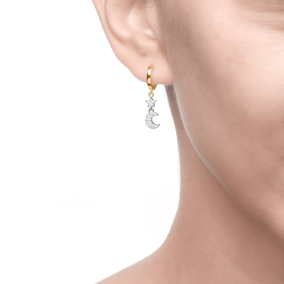 Fortuna | Ravenna Earrings | 925 Silver | White CZ | White Rhodium & 18K Gold Plated