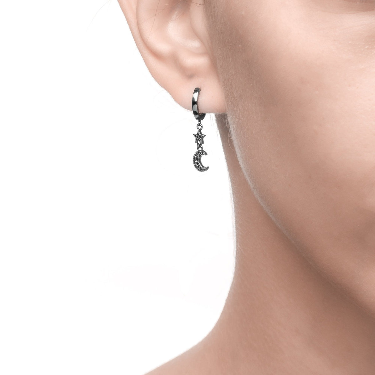 Fortuna | Ravenna Earrings | 925 Silver | Black CZ | Black Rhodium Plated